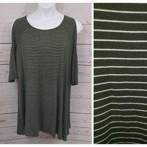 Terra & Sky Top Striped Tunic Cold Shoulder